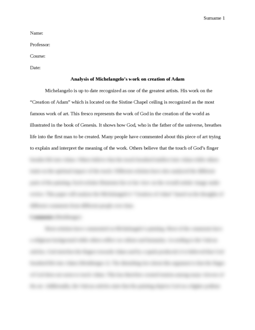 Analysis of Michelangelo's work on creation of Adam - Page 1
