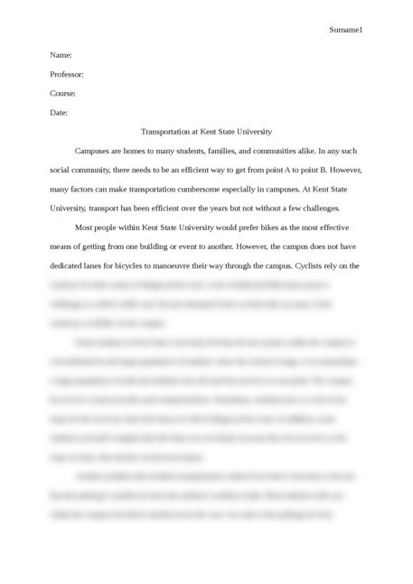 Transportation at Kent State University - Page 1