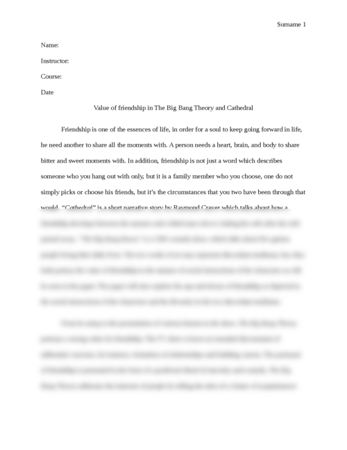 Value of friendship in The Big Bang Theory and Cathedral - Page 1