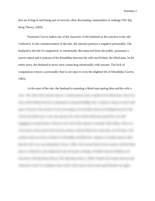 Value of friendship in The Big Bang Theory and Cathedral - Page 2