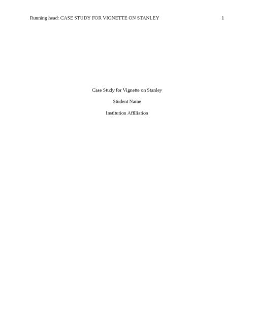 CASE STUDY FOR vignette on STANLEY  - Page 1