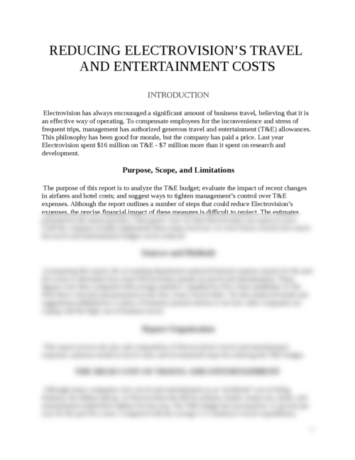 REDUCING A COMPANY'S TRAVEL  AND ENTERTAINMENT COSTS - Page 1