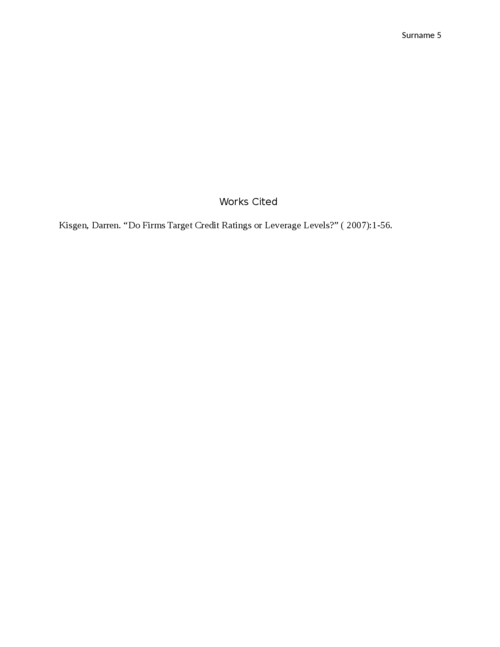 Do Firms Target Credit Ratings or Leverage Levels? Article Review - Page 5