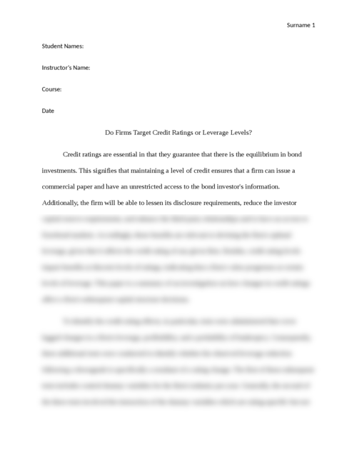 Do Firms Target Credit Ratings or Leverage Levels? Article Review - Page 1