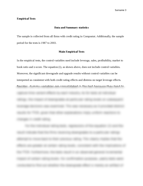 Do Firms Target Credit Ratings or Leverage Levels? Article Review - Page 3