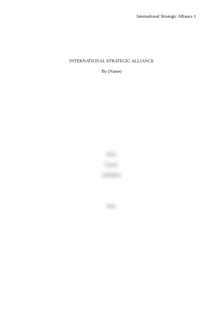 International Strategic Alliance - Page 1