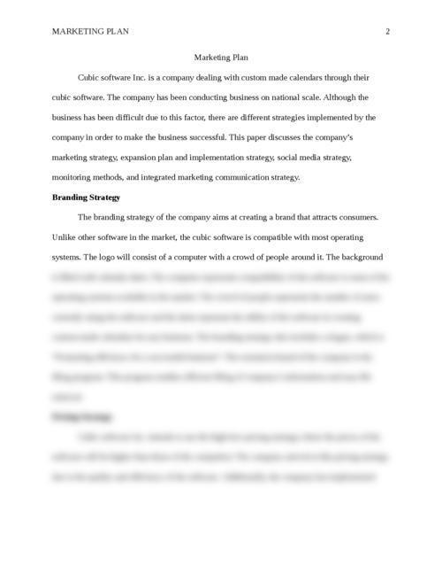 Marketing Plan  - Page 2