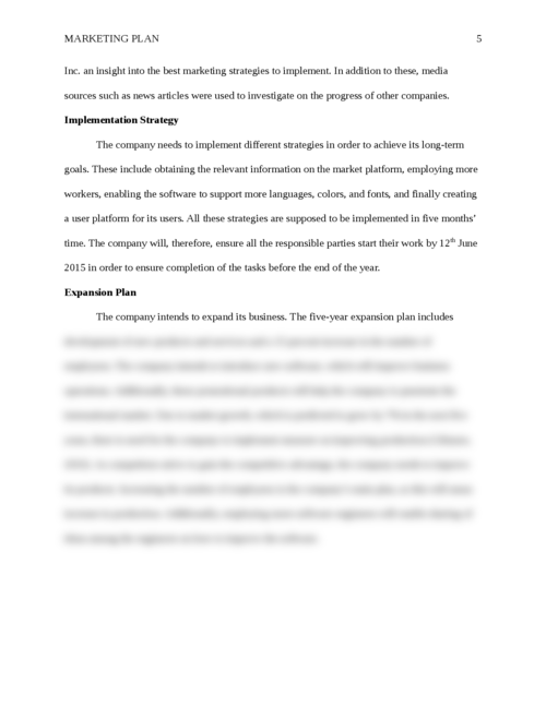 Marketing Plan  - Page 5
