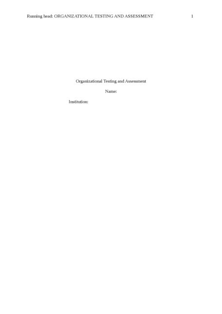 organizational testing and assessment - Page 1