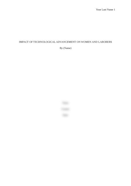 Impact of Technological Advancement on Women and Laborers - Page 1