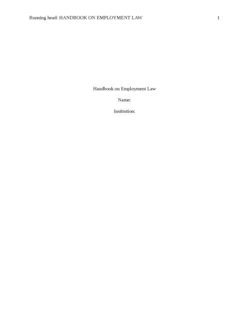 Handbook on Employment Law  - Page 1