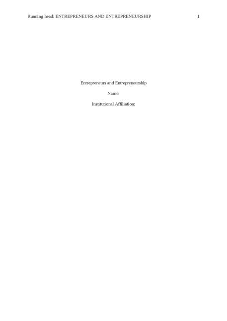 Entrepreneurs and Entrepreneurship - Page 1