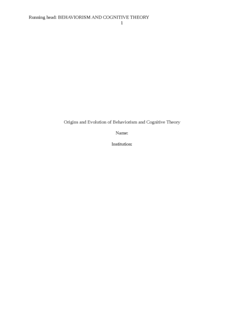 Origins and Evolution of Behaviorism and Cognitive Theory - Page 1