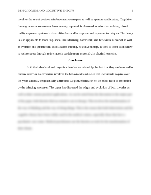Origins and Evolution of Behaviorism and Cognitive Theory - Page 6