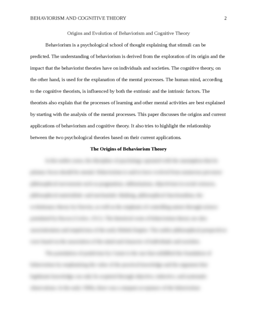 Origins and Evolution of Behaviorism and Cognitive Theory - Page 2