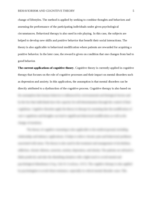 Origins and Evolution of Behaviorism and Cognitive Theory - Page 5