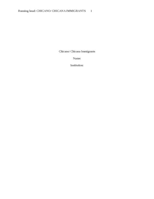 Chicano/ Chicana Immigrants