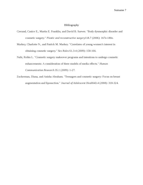 Plastic Surgery and Teenagers in the Middle East: Research Proposal - Page 7