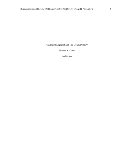 Arguments Against and For Death Penalty - Page 1
